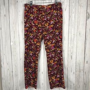 Urban Outfitters Velvet Floral pants crop